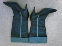Ladies black soft leather knee high boots size 7, stiletto heel, grey trim.