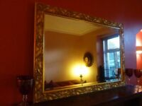 Extra Large Gold Wall Mantle Bevelled Mirror