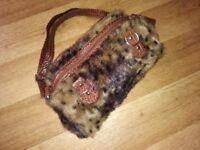 Ladies faux leopard print handbag