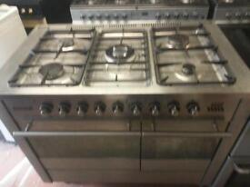 tecknic stainless steel gas range dual fual 90 cm