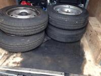 4 steel wheels Citroen Beling van tyres