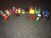 Different trucks and cars