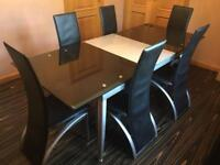 Black Glass Extendable Dining Table With 6 Chairs RRP £1200