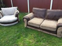 Dfs Jumbo cord sofa suite Walser spinning chair & 2 seater immaculate. Free delivery
