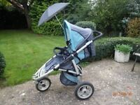 Quinny Speedi pushchair with Quinny Speedi footmuff, Rain cover, Parasol and adapters