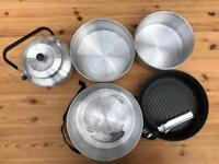 Stackable camping cooking / pan set with kettle. Great design!
