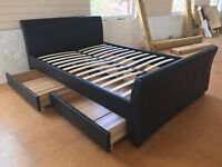 BLACK BROWN PU LEATHER STORAGE 4 DRAWER DOUBLE OR KING SIZE BED FRAME NEW FLAT PACKED SLEIGH HIGH