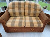 Rattan two seater sofa x 2 plus footstool for conservatory or garden room