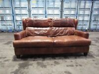 Brown leather sofa, french