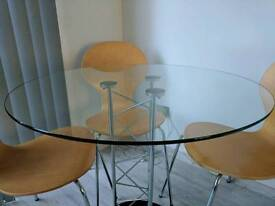 Made. com clear glass dining table RRP: £220 with 3 chairs