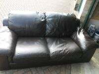 genuine 3 seater leather sofa and chair