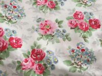 Pink and blue flower design, unused 5.60 metres fabric