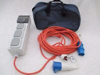 20 metre Mobile Mains Hook Up and UK Plug Conversion Lead - Perfect Condition