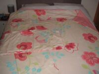 """Next Double duvet cover with 2 pillow cases and matching curtains 66"""" wide 54"""" drop"""