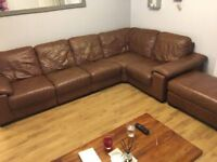 BROWN LEATHER CORNER SOFA WITH POUFFE - MUST GO ASAP - FREE DELIVERY SOME AREAS - £325