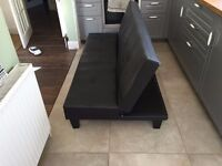 Nearly New Black Sofa Bed - Futon style & height