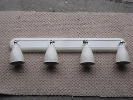 Light Fitting. Cream/Ivory metal. 4 Spotlight roof fitting .Very good condition £19