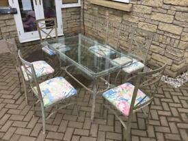 6 piece indoor glass top table & chairs