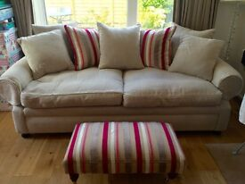 Large 2 seater sofa and footstool .