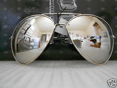 Aviator Sunglasses Extra Large Silver Mirrored Lenses Over sized Silver Frame