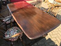 Vintage Ercol refectory dining table and chairs