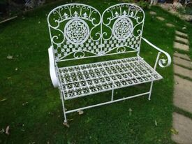 beautiful wrought iron folding bench - wrought iron garden bench - great Christmas present