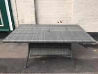 Large Grey Rattan Garden Table