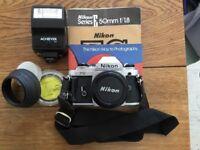 Nikon FG SLR Film Camera, Lens & Accessories
