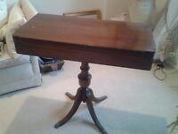 Vintage mahogany folding card table on pedestal legs