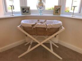 Momas and Popas Moses basket and stand.