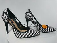 New black and white stripey high heels - size 4