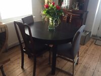 Extendable table 4-6 seater, Ikea BJURSTA model, Black veneer, 115/166 cm