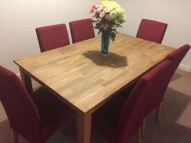 Light Oak Dining Table and Six Chairs