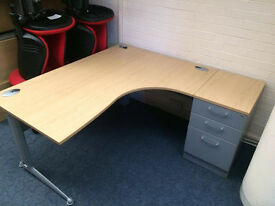 25 x Oak Ergo Desks with or without pedestals