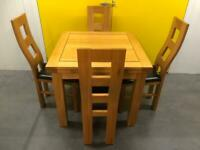 Oak Furniture Land Solid Oak Extending Dining Table and 4 Chairs