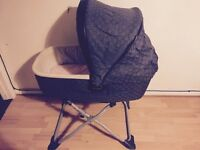 Mamas and papas moses basket/carry cot with stand