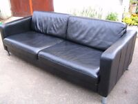 3-4 seater couch, real leather sofa- quality settee- black real high quality Italian leather