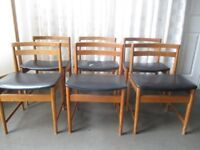 SET OF SIX VINTAGE GPLAN STYLE TEAK DINING CHAIRS FOR REFURB FREE DELIVERY