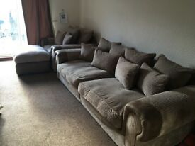 4 seater sofa/settee/couch, chair and footstool