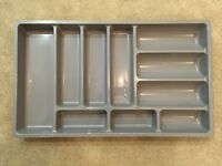 grey plastic cutlery tray unused, new