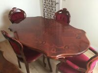 Solid wooden table and 4 chairs