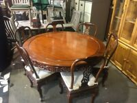 Luxury Round Oriental Dining Table and 6 Chairs - Stunning - Grand