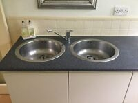 Double Round Sink, Taps and Worktop
