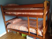 Natural pine bunk beds, mattress included
