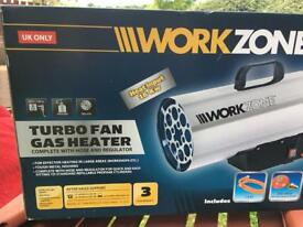 Work zone turbo gas fan heater new and inside