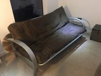 Sofa bed settee brown suedette excellent condition