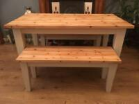 Solid Wood Dining Table With Two Bench Set