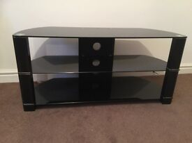 GLASS TELEVISION STAND WITH SHELVE FOR DVD PLAYER ETC