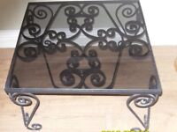 Wrought Iron Rustic Coffee/Side Table with Glass Top