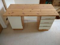 PEDESTAL DESK. SOLID PINE. CUPBOARD AND 4 DRAWERS. VIRTUALLY UNMARKED
